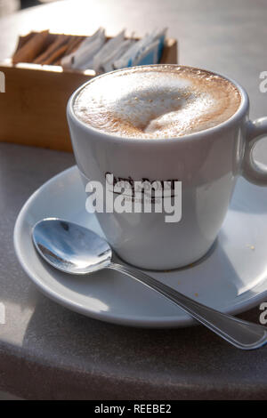 Italy Rapallo Liguria region a cappuccino at Cafe Boasi on the seafront - Stock Image