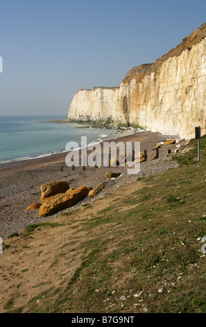 Castle Hill Beach and Chalk Cliffs at Newhaven, East Sussex, UK - Stock Image