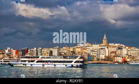 A view of the Karaköy skyline from the Bosphorus, Istanbul, Turkey - Stock Image