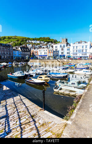 Dartmouth town Devon UK, Dartmouth, Devon, UK, England, Dartmouth UK, Dartmouth Devon, Dartmouth town, Devon, boats, moorings, shops, town, shopping, - Stock Image
