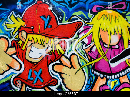 Detail of professional graffiti in Lisbon depicting cartoon male and female characters - Stock Image