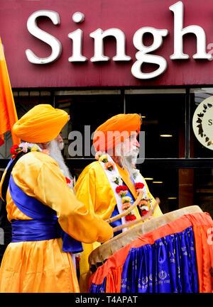 Gravesend, Kent, UK. Vaisakhi (or Baisakhi / Vaishakhi / Vasakhi) annual Sikh festival celebrating the Punjabi New Year. 13th April 2019. Procession p - Stock Image