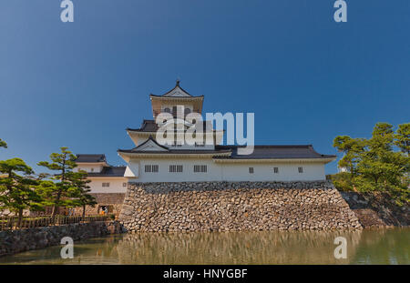 Reconstructed main keep of Toyama castle. Castle was founded in 1543 by Jinbo Nagamoto, dismantled in 1870, reconstructed - Stock Image