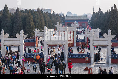View from Circular Mound Altar in Temple of Heaven in Beijing, China - South Gate on background - Stock Image