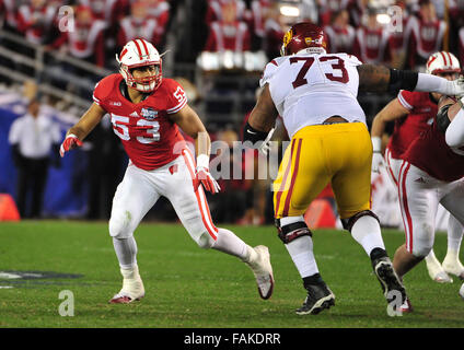 December 19, 2015. T.J. Edwards #53 of Wisconsin in action during the 2015 National Education Holiday Bowl between - Stock Image