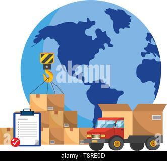 truck with a big box in the back and globe with boxes and checklist vector illustration graphic design - Stock Image