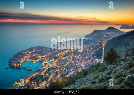 Dubrovnik, Croatia. Beautiful romantic old town of Dubrovnik during sunset. - Stock Image