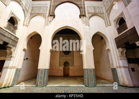 Rascherratine Medersa in the medina of Fez, Morocco - Stock Image