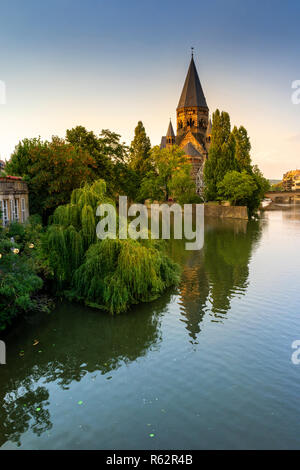 Protestant church New Temple (Temple Neuf) by the golden hour in the Metz, France. - Stock Image