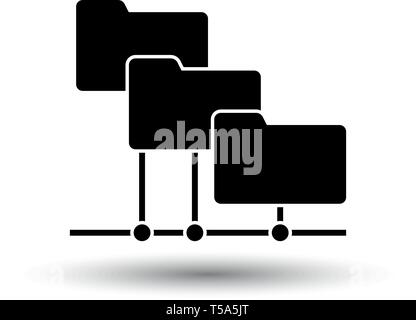 Folder Network Icon. Black on White Background With Shadow. Vector Illustration. - Stock Image