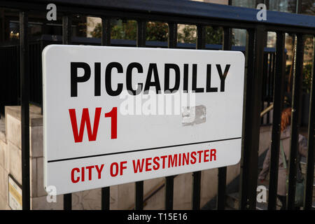 Piccadilly W1 street sign, Mayfair,  London, England, UK - Stock Image