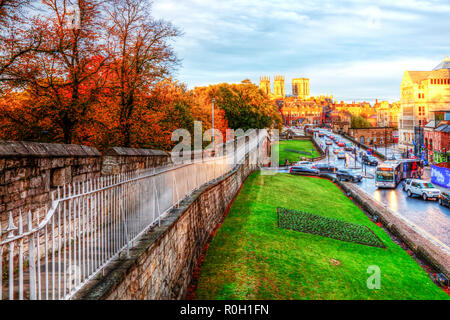 York Cathedral and City Walls, York Cathedral, York City Walls, historic York, York City UK, York City, City walls, York roads, historic, City wall, - Stock Image