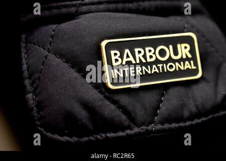 Barbour international branding badge - Stock Image