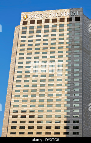Stone clad facade of the InterContinental Hotel on Biscayne Bay in downtown Miami, Florida, USA. - Stock Image