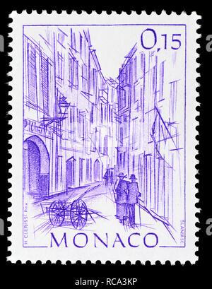 Monaco postage stamp (1984): Early Views of Monaco definitive series: Rue Basse - Stock Image