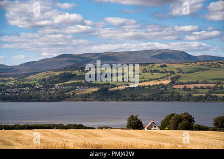 View towards Ben Wyvis (1046m) over the Cromarty Firth from the Black Isle,Ross-shire, Scotland,UK - Stock Image