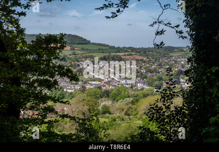 View looking across Sidmouth from Page Wood, on Soldiers Hill, to the east of the Devon town. - Stock Image