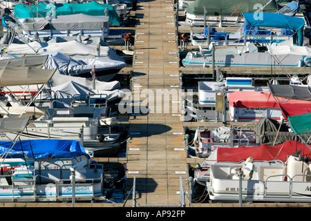 Boats docked at the Loch Lomond marina in Bella Vista, Ark. - Stock Image
