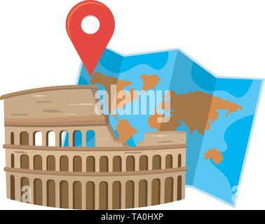 Rome coliseum landmark design, Travel trip vacation tourism journey and tourist theme Vector illustration - Stock Image