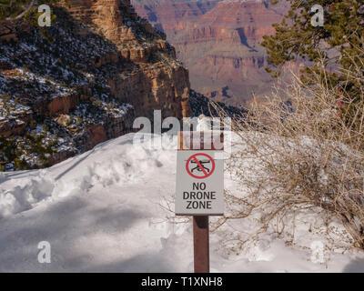 No drone zone sign. Grand Canyon National Park, Arizona. - Stock Image