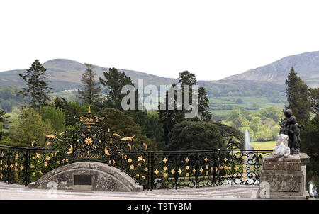 A general view of the gardens at Powerscourt House and Gardens in Enniskerry, Co Wicklow, on the first day of their visit to Ireland. - Stock Image