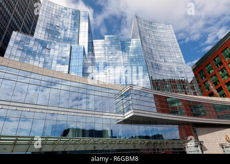 Wide-angle view of the InterContinental Hotel,  Boston, USA - Stock Image