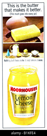 1965 Magazine Advertisement for Moorhouses Lemon Cheese FOR EDITORIAL USE ONLY - Stock Image