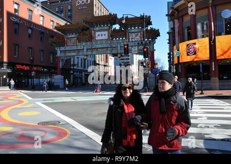Brazilian Woman and Autistic Son Shopping in Chinatown, Washington DC - Stock Image
