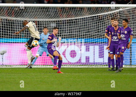 Optus Stadium, Perth, Western Australia. 13th July, 2019Optus Stadium, Perth, Western Australia. 13th July, 2019. Pre-season friendly football, Perth Glory versus Manchester United; Ashley Young of Manchester United mistimes a shot in the box as Joel Chianese of the Perth Glory blocks it Credit: Action Plus Sports/Alamy Live News Credit: Action Plus Sports Images/Alamy Live News - Stock Image