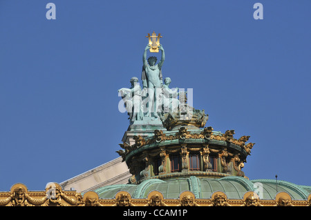 details of front facade of the Opera Garnier Paris France - Stock Image