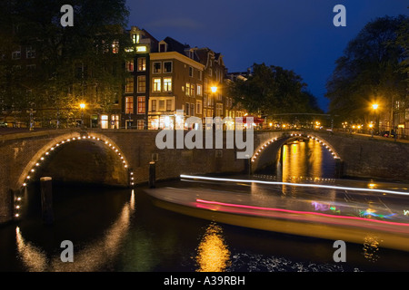 Amsterdam Herengracht at twilight - Stock Image