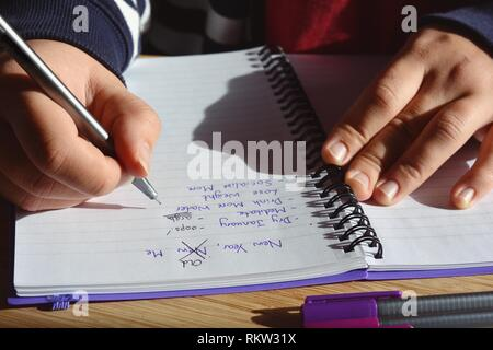 Young woman seated at a desk, updating a list of New Year resolutions in a spiral bound notebook, starting with Dry January. New Year, Old Me - Stock Image