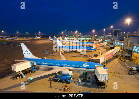 Amsterdam Airport Schiphol (Luchthaven Schiphol) the main international airport of the Netherlands, with Boeing 737 of KLM (Royal Dutch Airlines) - Stock Image