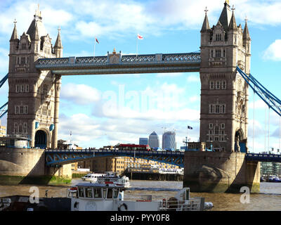 Tower Bridge on a bright but chilly October morning - Stock Image