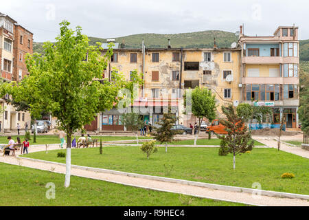 Prenjass village centre Albania - Stock Image