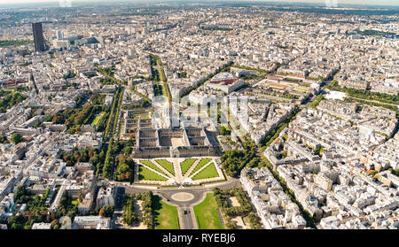 Aerial view of Hotel des Invalides, Paris France - Stock Image
