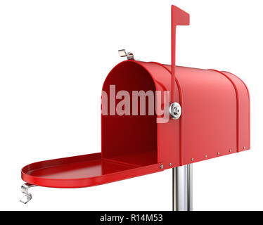 Classic Mailbox, open and empty. Red and isolated on white background. 3D render. - Stock Image