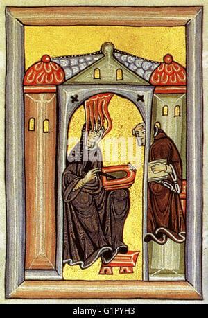 Hildegard Von Bingen in a medieval manuscript - Stock Image