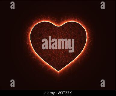 Heart symbol magic low poly model, love polygonal wireframe vector illustration on dark orange background - Stock Image