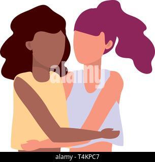 young women hugging cartoon vector illustration graphic design - Stock Image