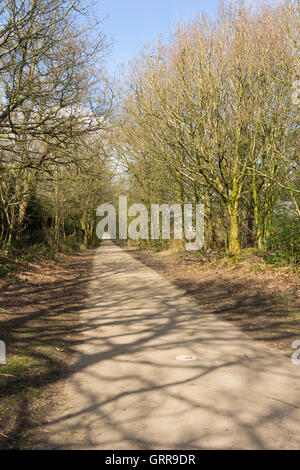 Long straight section of the six mile long Kirklees Trail which runs between Greenmount village and Bury town centre. - Stock Image