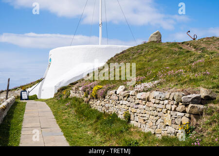Path to Visitor Centre in former coastguard lookout built on inner rampart of Pictish fort. Burghead, Moray, Scotland, UK, Britain - Stock Image