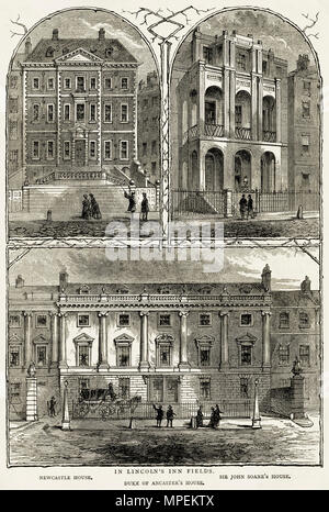 Grand houses in Lincoln's Inn Fields London England UK, Newcastle House, Sir John Soane's House & Duke of Ancaster's House. 19th century Victorian engraving circa 1878 - Stock Image