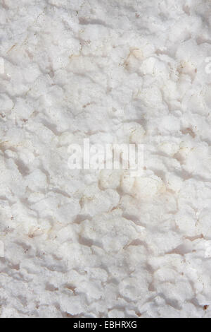 Close-up of the salt in the Larnaca salt lake in august, when the water has dried off. - Stock Image