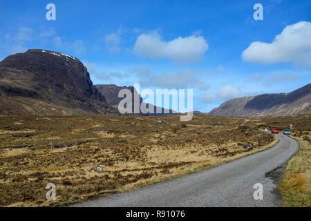 Single-track road to Bealach na Ba (pass of the cattle), Applecross Peninsula, Wester Ross, Highland Region, Scotland - Stock Image