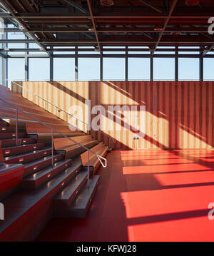 Multifunctional event space with incoming sunlight. Carmen Würth Forum, Künzelsau-Gaisbach, Germany. Architect: - Stock Image