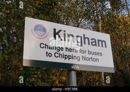 Kingham Station Sign -1 - Stock Image