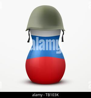Russian matrioshka in military helmets and flag color. - Stock Image