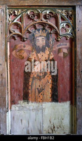 Painted saints on the rood screen, St Edmund, Barton Turf Church, Norfolk - Stock Image