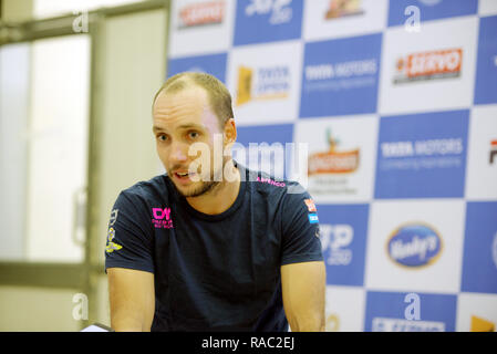 Pune, India. 3rd January 2019. Steve Darcis of Belgium talks to the press after winning his quarter final match of singles competition at Tata Open Maharashtra ATP Tennis tournament in Pune, India. Credit: Karunesh Johri/Alamy Live News - Stock Image